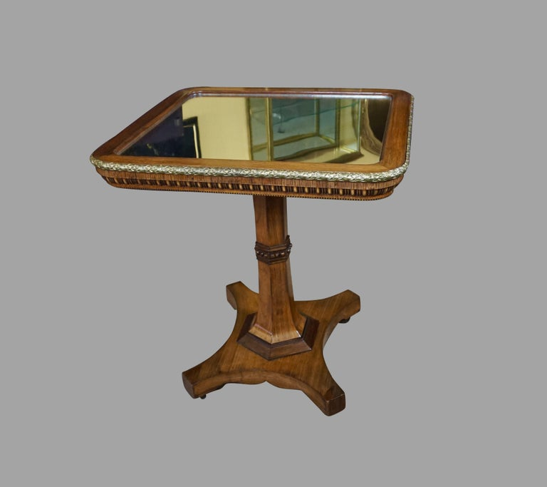 Regency Gilt Metal Mounted Tilt-Top Mirrored Occasional Table For Sale 4