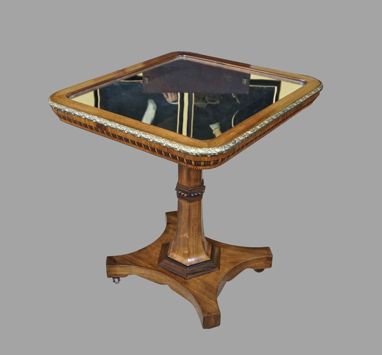Regency Gilt Metal Mounted Tilt-Top Mirrored Occasional Table For Sale 5