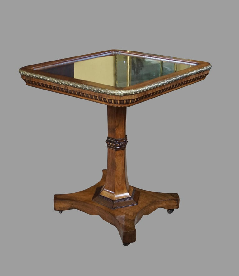 Regency Gilt Metal Mounted Tilt-Top Mirrored Occasional Table For Sale 7