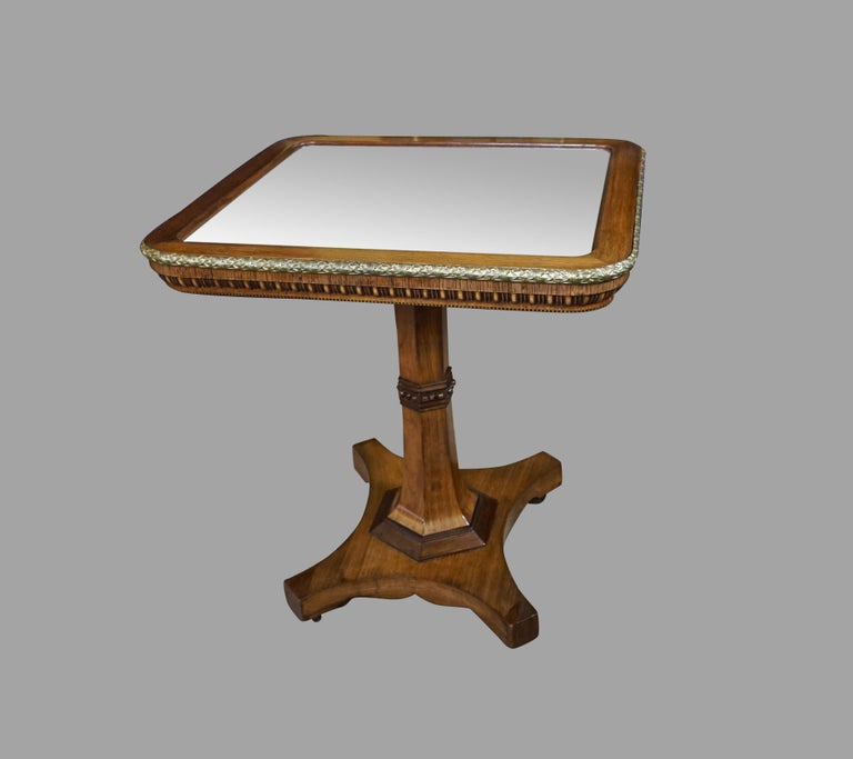English Regency Gilt Metal Mounted Tilt-Top Mirrored Occasional Table For Sale