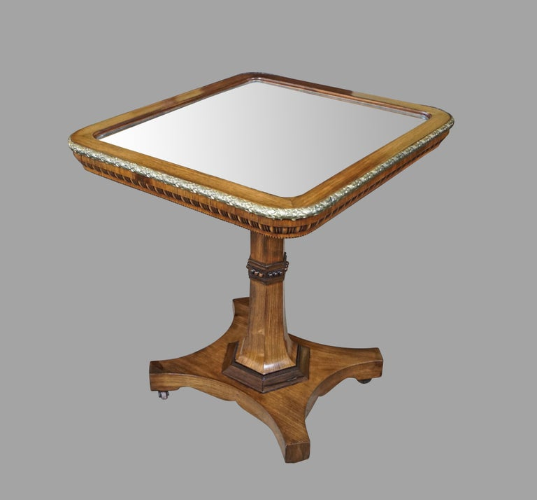 Early 19th Century Regency Gilt Metal Mounted Tilt-Top Mirrored Occasional Table For Sale
