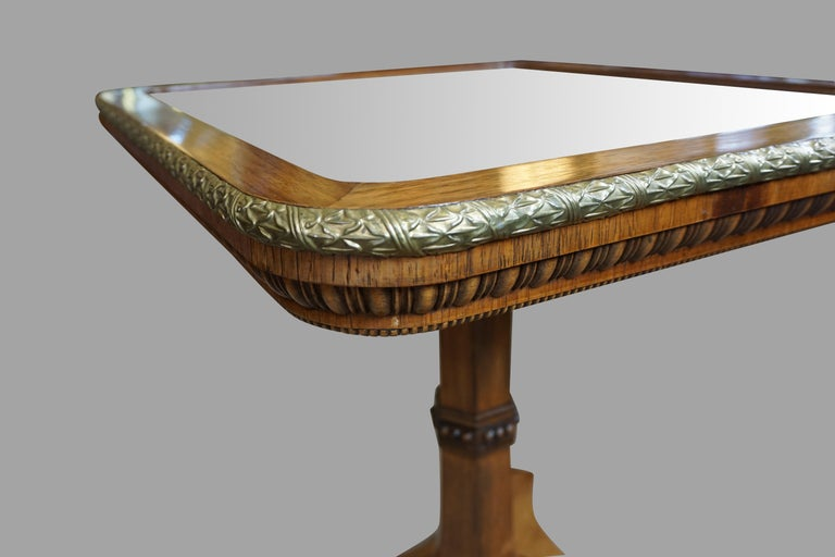Regency Gilt Metal Mounted Tilt-Top Mirrored Occasional Table For Sale 1