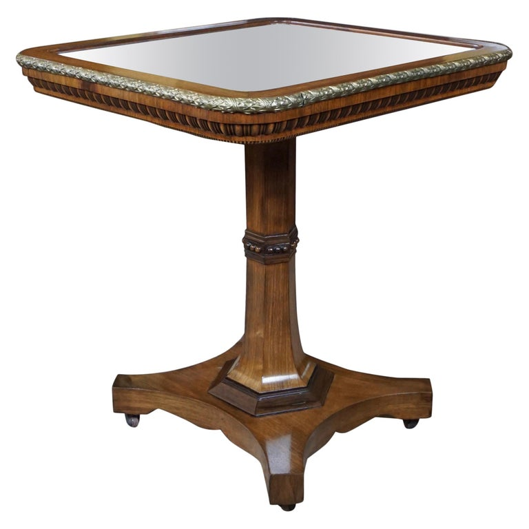 Regency Gilt Metal Mounted Tilt-Top Mirrored Occasional Table For Sale