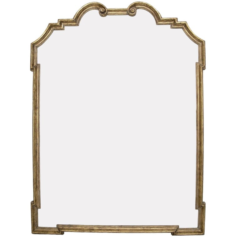 Italian giltwood designer mirror by Randy Esada. Available in yellow or white gold
