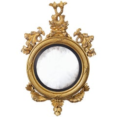 Regency Giltwood Convex Mirror with Dolphins, circa 1810