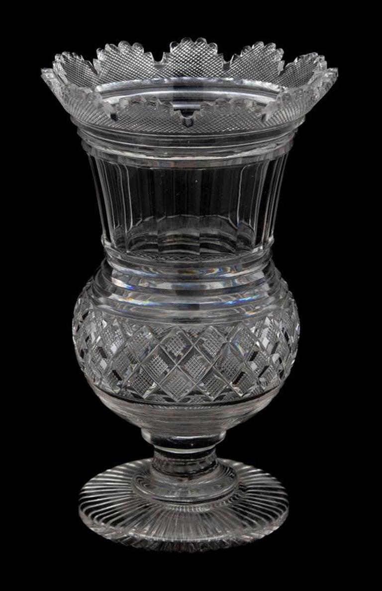 English Regency Glass Large Celery Vase, circa 1820 For Sale