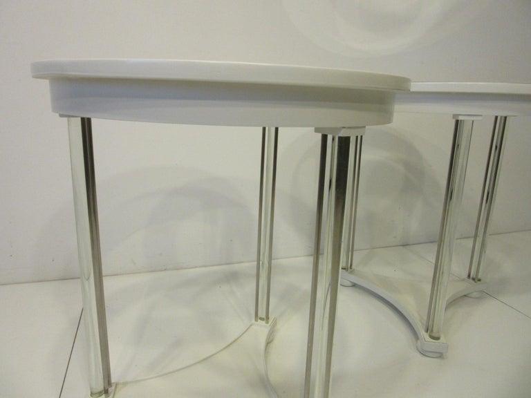 Hollywood Regency Regency Glass / Wood Side Tables For Sale