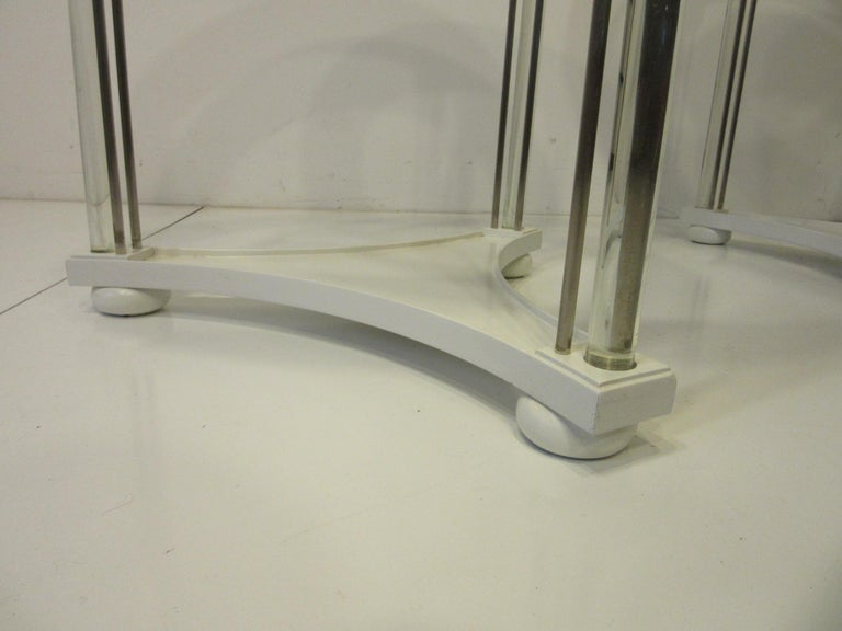 Regency Glass / Wood Side Tables In Good Condition For Sale In Cincinnati, OH