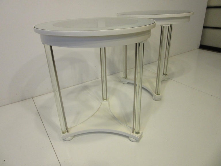 Regency Glass / Wood Side Tables For Sale 2