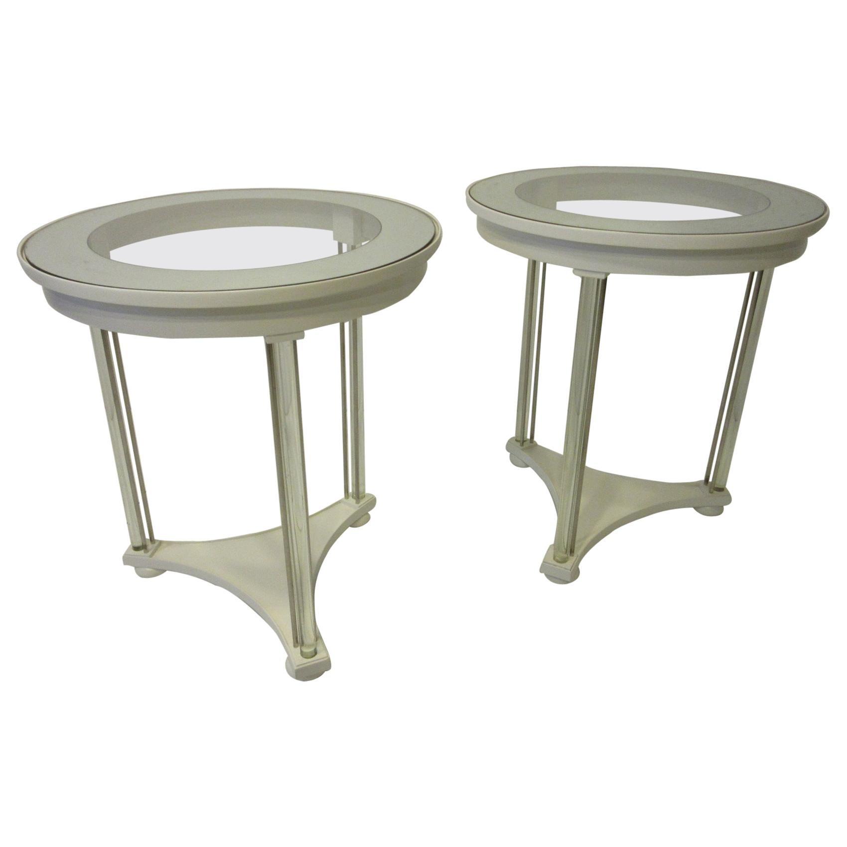 Regency Glass / Wood Side Tables