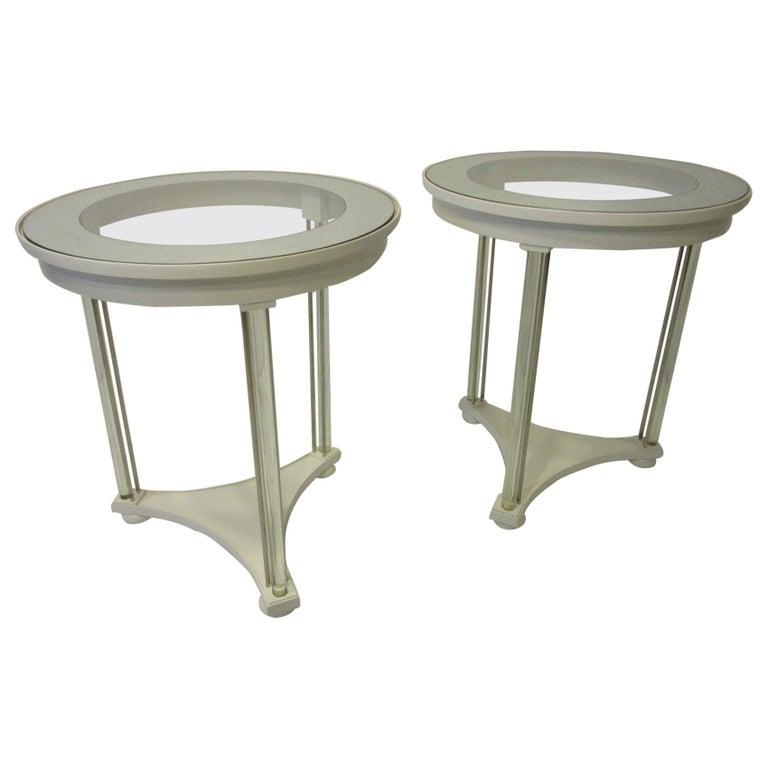 Regency Glass / Wood Side Tables For Sale