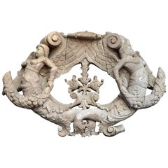 Regency Hand Carved Wooden Mermaid Plaque Architectural Fragment