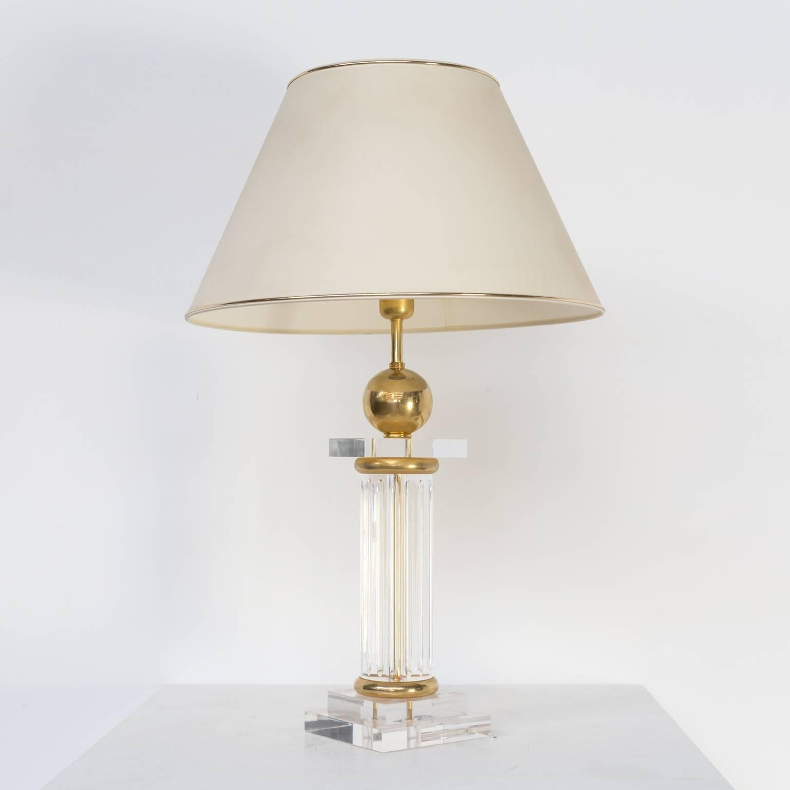 Brass Regency Hollywood Style Table Lamp For Sale