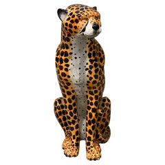 Regency Jaguar 70's, Glazed Pottery Statue, Handpainted