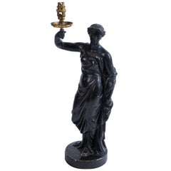 Regency Lamp Base in Ebonized Plaster by Humphrey Hopper