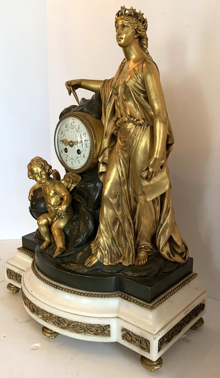 Neoclassical Regency Large Marble Dore Patinated Bronze Ormolu Clock Figural Cherub Maiden For Sale