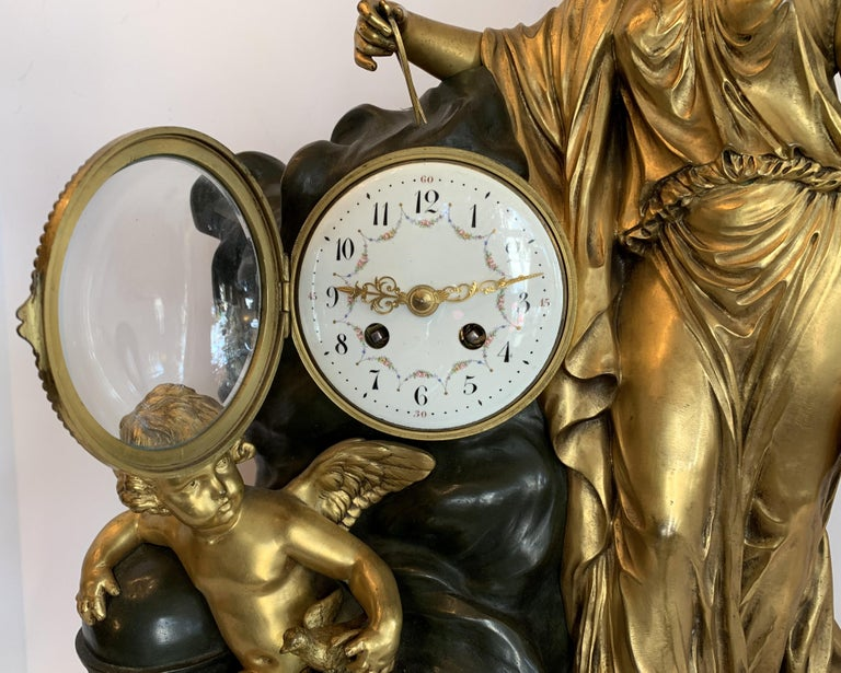 French Regency Large Marble Dore Patinated Bronze Ormolu Clock Figural Cherub Maiden For Sale