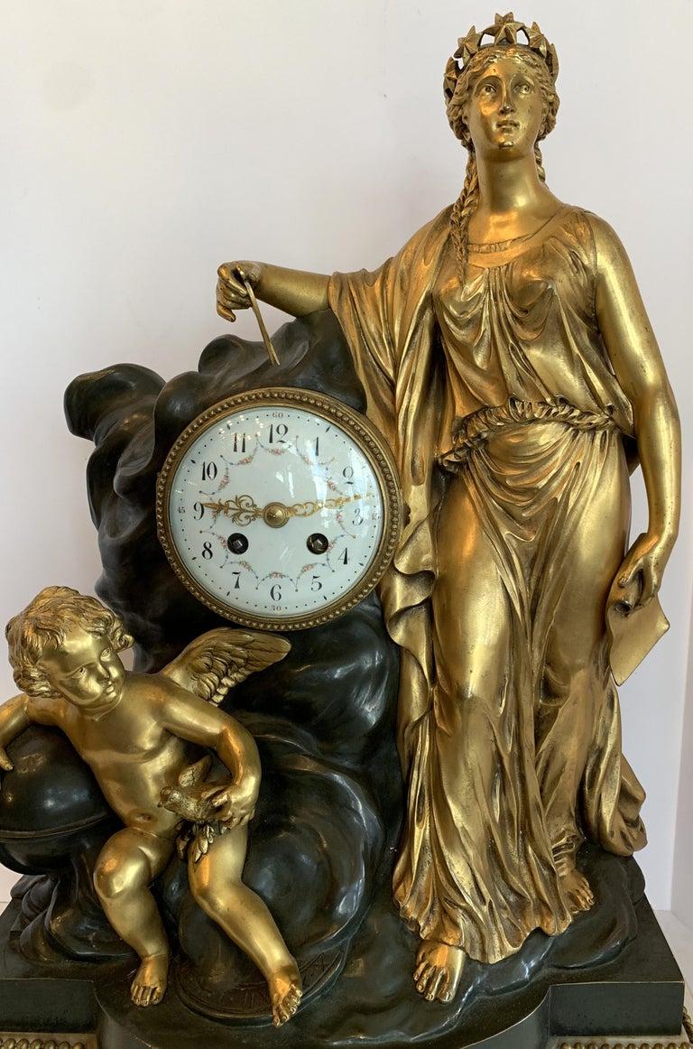 Gilt Regency Large Marble Dore Patinated Bronze Ormolu Clock Figural Cherub Maiden For Sale
