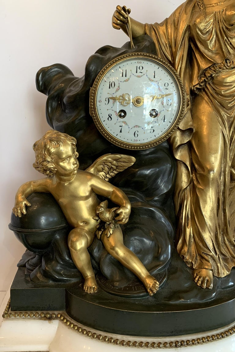 Regency Large Marble Dore Patinated Bronze Ormolu Clock Figural Cherub Maiden In Good Condition For Sale In Roslyn, NY