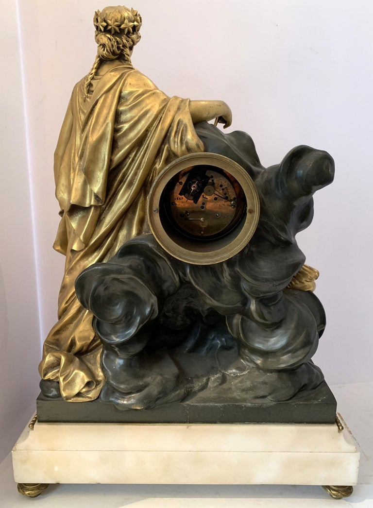 19th Century Regency Large Marble Dore Patinated Bronze Ormolu Clock Figural Cherub Maiden For Sale