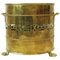Regency Lion Paw Brass Cachepot Jardinière Plant Pot Holder