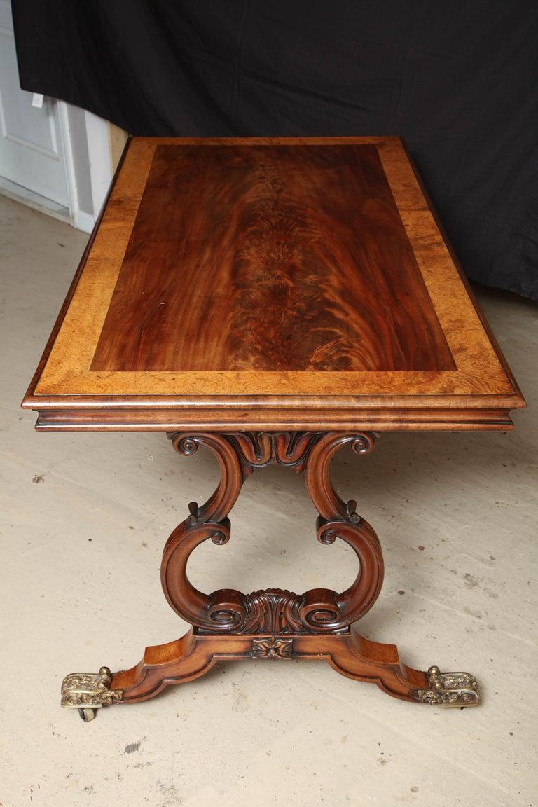 Regency Mahogany and Amboyna Library Table For Sale 5