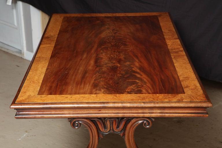 Regency Mahogany and Amboyna Library Table For Sale 3