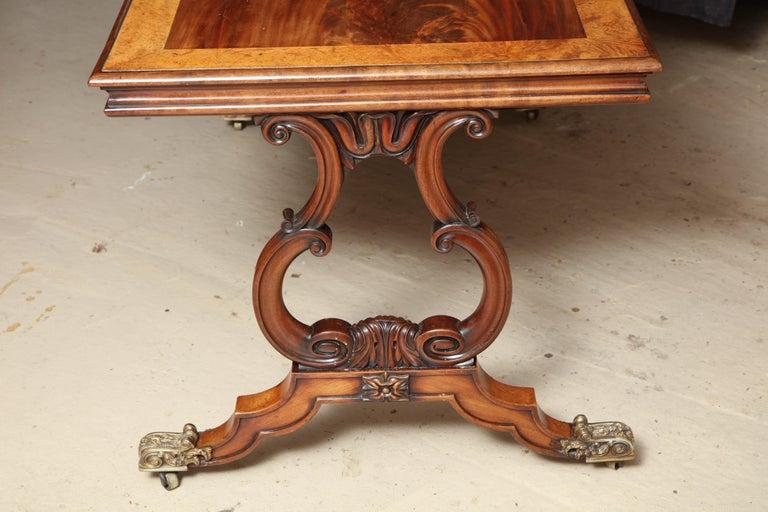 Regency Mahogany and Amboyna Library Table For Sale 4
