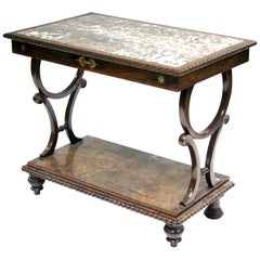 Regency Mahogany and Brass Inlaid Console Table with Inset Marble Top