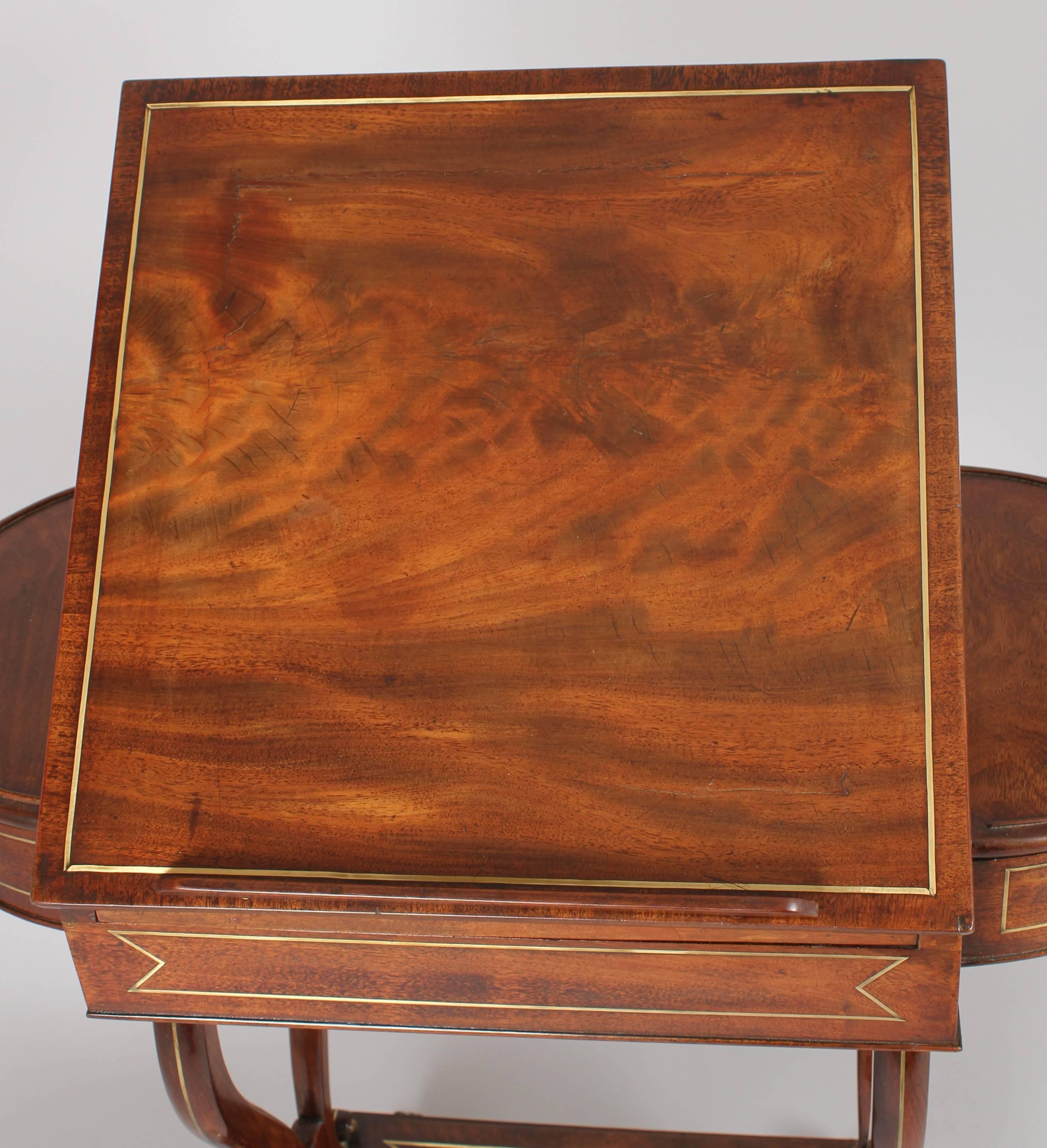 Regency Mahogany and Brass Inlaid Work-Table