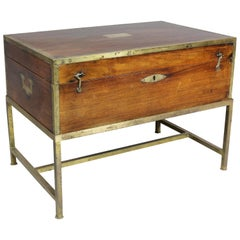 Regency Mahogany and Brass Mounted Campaign Box on Later Stand