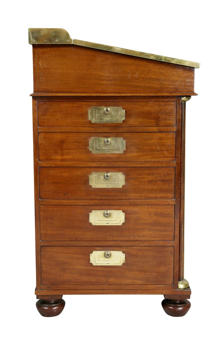 Regency Mahogany and Brass Mounted Campaign Desk For Sale 5