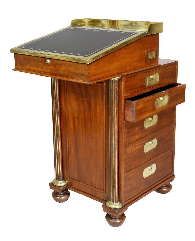 Early 19th Century Regency Mahogany and Brass Mounted Campaign Desk For Sale