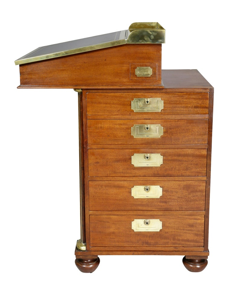 Regency Mahogany and Brass Mounted Campaign Desk For Sale 1
