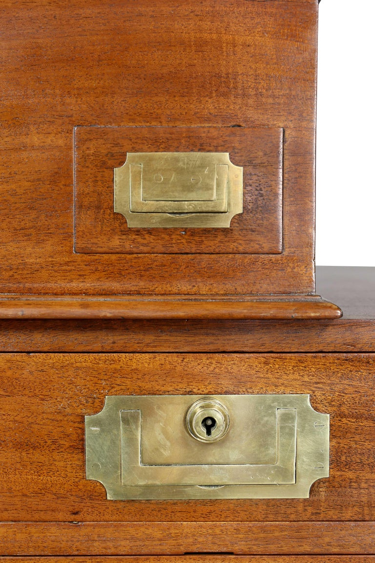 Regency Mahogany and Brass Mounted Campaign Desk For Sale 2