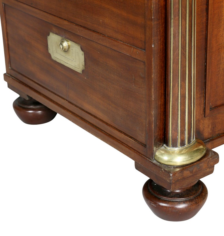 Regency Mahogany and Brass Mounted Campaign Desk For Sale 4