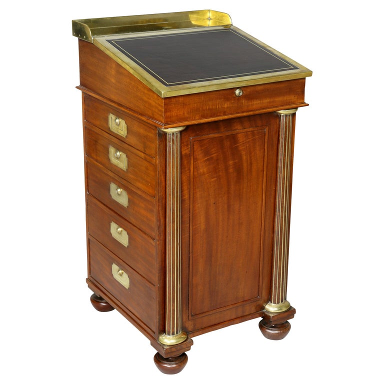 Regency Mahogany and Brass Mounted Campaign Desk For Sale