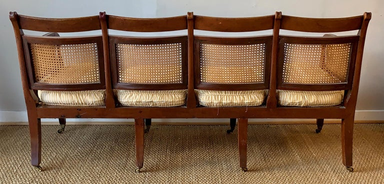 Regency Mahogany and Cane Settee For Sale 1