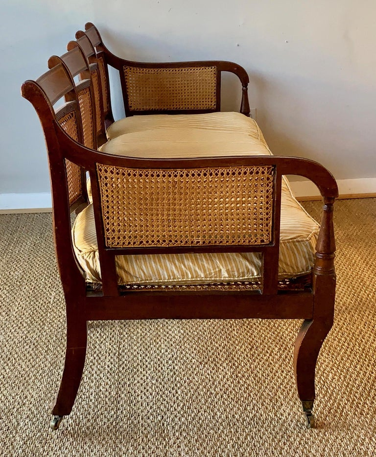 Regency Mahogany and Cane Settee For Sale 2