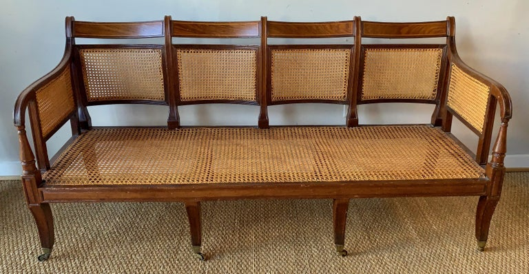 Regency Mahogany and Cane Settee For Sale 3