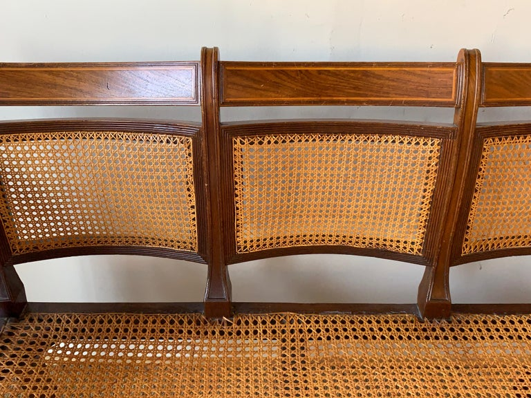 Regency Mahogany and Cane Settee For Sale 4
