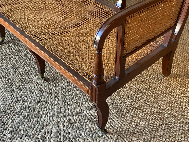 Regency Mahogany and Cane Settee For Sale 5
