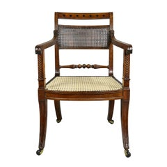 Regency Mahogany and Ebony Inlaid Armchair
