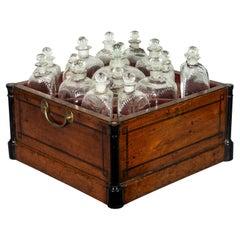 Regency Mahogany and Ebony Inlaid Bottle Caddy
