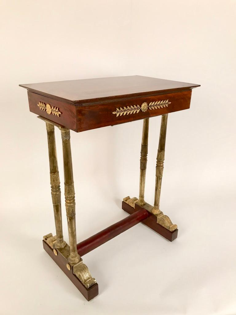 French Regency Mahogany and Gilt Bronze Side Table For Sale