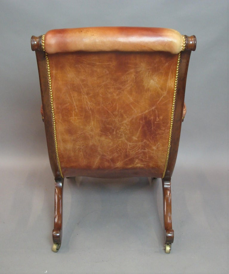Regency Mahogany and Leather Library Chair 12