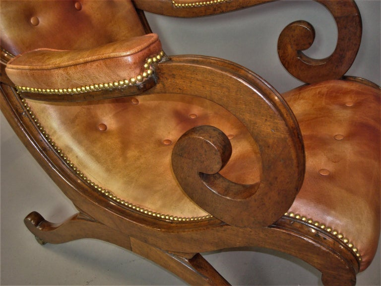 Regency Mahogany and Leather Library Chair 13