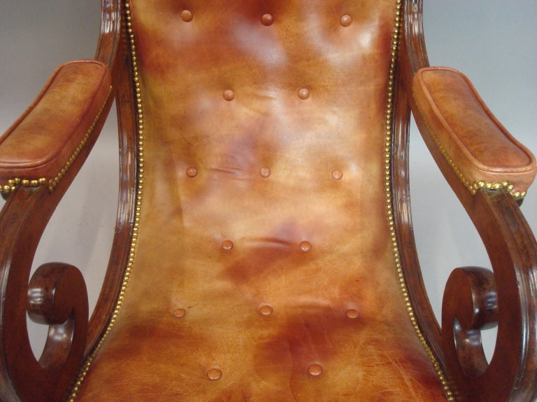 Regency Mahogany and Leather Library Chair 15