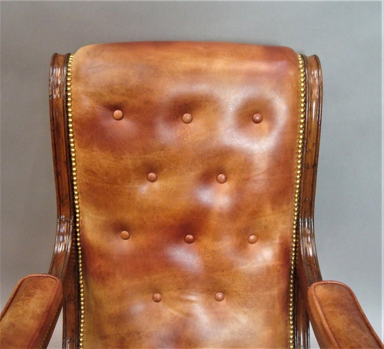 Regency Mahogany and Leather Library Chair 16