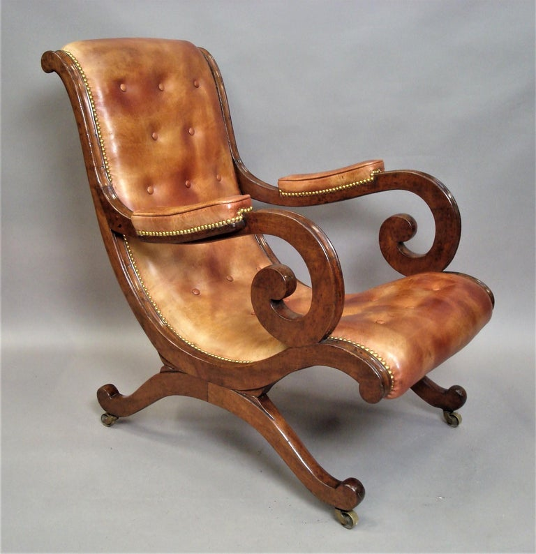 Regency Mahogany and Leather Library Chair 2